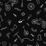 Vector seamless pattern in doodle style.Bicycle accessories. Stock Photo