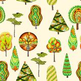 Vector seamless pattern with doodle trees Stock Images
