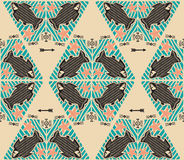 Vector Seamless Pattern With Doodle Tribal Fishes And Arrows. Marine Theme Pattern. Stock Photography