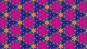 Vivid colors floral pattern. Vector seamless pattern of doodled flowers in pink, red and orange over a violet background. festive background for textile, fabric Royalty Free Stock Images