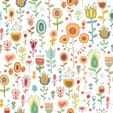 Vector seamless pattern with doodles flowers. Vector seamless pattern with flowers of doodles made using stencil. Cute floral colorful background in hand draw royalty free illustration