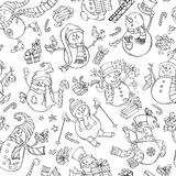 Vector seamless pattern of doodles snowmen. Black outlined snowmen on white background. Snowmen are singing, skating, skiing. Candy canes, gift boxes, Christmas Stock Photography