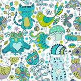 Vector seamless pattern, doodling animals design. Hand draw . Kids illustration, funny cartoon  in vector. Stock Photo