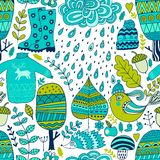 Vector seamless pattern, doodling autumn design. Hand draw trees and leafs over the city. Season of the rain, illustration, cute b Stock Photo