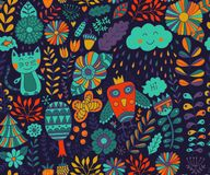Vector seamless pattern, doodling design. Hand draw flowers and leafs. Kids illustration, cute background. Color doodle background Royalty Free Stock Images