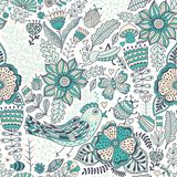 Vector seamless pattern, doodling design. Hand draw flowers and leafs. Kids illustration, cute background. Color doodle background.  Royalty Free Stock Photo