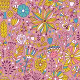 Vector seamless pattern, doodling design. Hand draw flowers and leafs. Kids illustration, cute background. Color doodle background.  Stock Images
