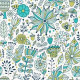 Vector seamless pattern, doodling design. Hand draw flowers and leafs. Kids illustration, cute background. Color doodle background.  Royalty Free Stock Photos