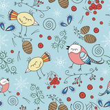 Vector seamless pattern, doodling winter design. Hand draw birds over the forest. Winter season cute illustration. Royalty Free Stock Photo