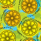 Vector seamless pattern with dotted black lemon slice on the background with colorful blots. Stock Image