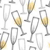 Vector seamless pattern with dotted champagne glass or flute in black and blots on the white background. Royalty Free Stock Photos