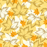 Vector seamless pattern with dotted maple leaves on the orange background. Floral autumn elements in dotwork style. Abstract autumn background with decorative Stock Photos