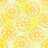 Vector seamless pattern with dotted orange lemon slice on the yellow background. Decor with fruits elements in dotwork style. Stock Photos