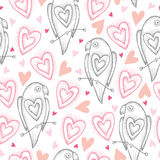 Vector seamless pattern with dotted parrots and pink hearts on the white background. Design elements and holiday symbols. Stock Image