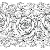 Vector seamless pattern with dotted rose flowers and decorative lace in black on the white background. Stock Images