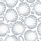 Vector seamless pattern with dotted Sea shell or Scallop in black and pebbles on the white. Marine and aquatic theme. Dotted seashell for summer design Stock Photo