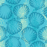Vector seamless pattern with dotted Sea shell or Scallop on the blue background. Maritime. Marine and aquatic theme. Royalty Free Stock Photos
