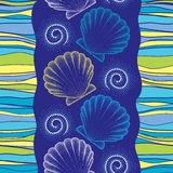 Vector seamless pattern with dotted Sea shell or Scallop on the blue background with swirls and stripes. Marine theme. Royalty Free Stock Photo