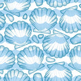 Vector seamless pattern with dotted Sea shell or Scallop in blue, pebbles and waves. Marine and aquatic theme. Dotted blue seashell for summer design. Nautical vector illustration