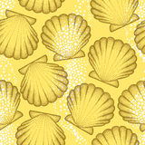 Vector seamless pattern with dotted Sea shell or Scallop in brown on the orange background. Marine theme. Stock Images