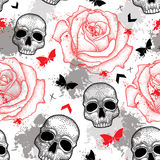 Vector seamless pattern with dotted skull, open roses, arrows, butterflies and blots in red and black and gray on the white. Stock Image