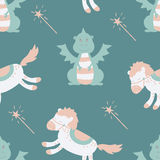 Vector seamless pattern with dragon, horse and magic wand Royalty Free Stock Photography