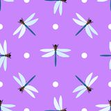 Vector seamless pattern with dragonflies and circles. On lilac background Stock Photography