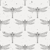 Vector seamless pattern with dragonflies. Vector grunge seamless pattern with dragonflies Royalty Free Stock Photography
