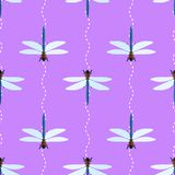 Vector seamless pattern with dragonflies and wavy lines. On lilac background Royalty Free Stock Images