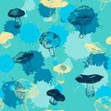 Vector seamless pattern with drawing mushrooms Royalty Free Stock Photos