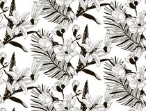 Vector Seamless Pattern with Drawn Flowers and Leaves. Vector Black Decorative Seamless Background Pattern with Drawn Flowers and Leaves, Cherry Blossom, Fern Stock Photo