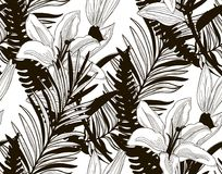 Vector Seamless Pattern with Drawn Flowers and Leaves. Vector Black Decorative Seamless Background Pattern with Drawn Flowers and Leaves, Fern Leaf, Lily. Hand Stock Photos
