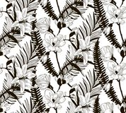 Vector Seamless Pattern with Drawn Flowers and Leaves. Vector Black Decorative Seamless Background Pattern with Drawn Flowers and Leaves, Fern Leaf, Lily, Cherry Stock Photo