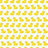 Vector seamless pattern with ducks. Duckling isolated on white background. Vector illustration. Rubber ducky for bath on Stock Photography