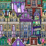 Vector seamless pattern with Dutch fictional vintage houses. Abstract vintage architecture background. Hand drawn Stock Images