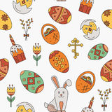 Vector seamless pattern with Easter celebration elements Stock Photos