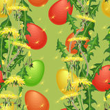 Vector seamless pattern. Easter Egg and dandelion on green background Royalty Free Stock Photography