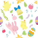 Vector seamless pattern on Easter theme. Easter background with bunny, chicks, eggs and flowers. Stock Image