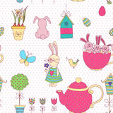 Vector seamless pattern Easter theme. Isolated objects on a white background. The background color can be changed. Drawn by hand. Suitable for printing on paper Royalty Free Stock Photo