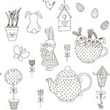 Vector seamless pattern Easter theme. Isolated objects on a white background. The background color can be changed. Drawn by hand. Suitable for printing on paper Stock Photo