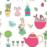 Vector seamless pattern Easter theme. Objects on a white background. The background color can be changed. Drawn by hand. Suitable for printing on paper or Stock Image