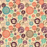 Vector seamless pattern with education icons. Vector seamless pattern with education and science icons - abstract background in flat style Royalty Free Stock Images