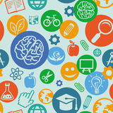 Vector seamless pattern with education  icons Royalty Free Stock Image