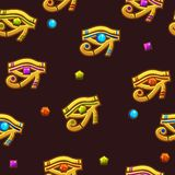 Seamless pattern Egypt Eye of Horus with colored precious gems, golden icon. Vector Seamless pattern Egypt Eye of Horus with colored precious gems, golden icon vector illustration