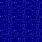 Vector seamless pattern - electronic blue circuit  Royalty Free Stock Image