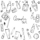 Vector seamless pattern with elements of cosmetics royalty free illustration