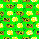 Vector seamless pattern with elements of exotic fruits, kiwi and lemons Royalty Free Stock Photos
