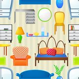Vector seamless pattern with elements furniture Royalty Free Stock Image