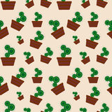 Vector seamless pattern with elements of home cactus Stock Photo