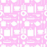 Vector seamless pattern with elements of kitchen utensils Stock Photo
